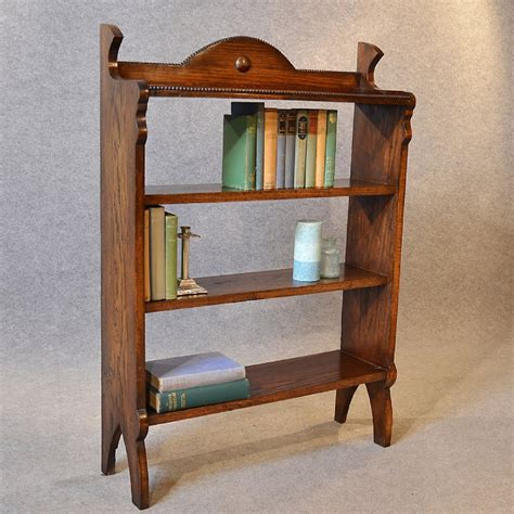 antique bookcase edwardian oak open library cabinet book