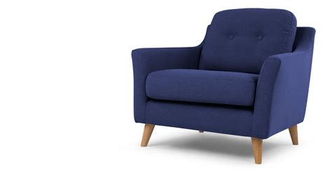 blue armchair rufus armchair dark cobalt blue made com