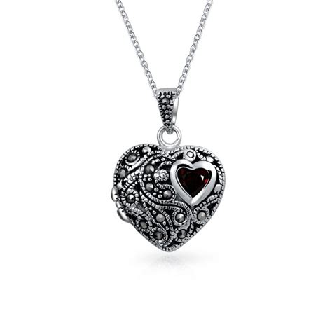925 silver garnet marcasite locket pendant necklace 18in