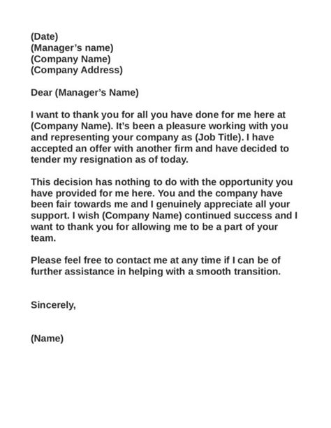 Independent Contractor Resignation Letter Livecareer 28