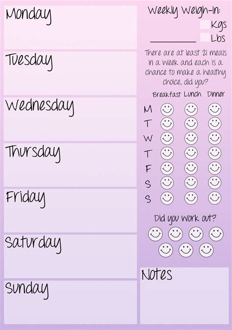 printable health journal weekly fitness journal printable healthly choices