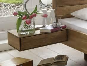 schwebender nachttisch komplett schlafzimmer aus massiver wildeiche terrano