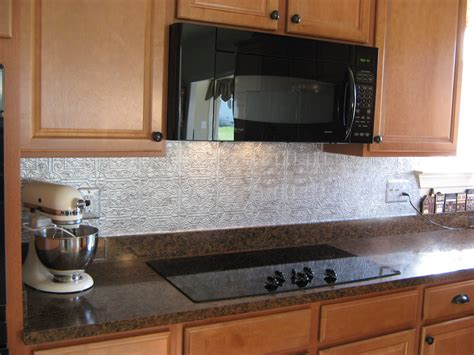 tin backsplash kitchen it frugal punched tin backsplash