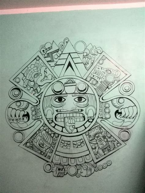 aztec pattern sketch aztec calendar by anickzamantha on deviantart