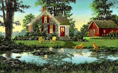 wallpapers for homes 1440x900 house shed dogs pond nature desktop pc and mac