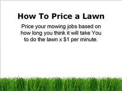 lawn care business estimating how to price mowing a lawn