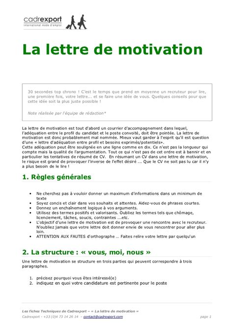 L Entreprise Lettre De Motivation Lettre De Motivation