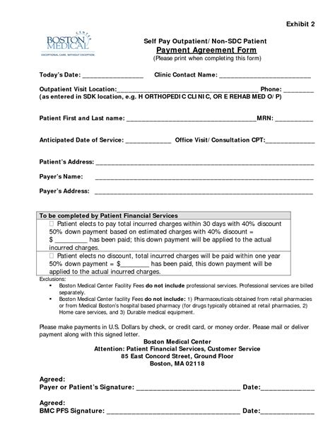 Letter Of Agreement Healthcare 13 Best Images Of Agreement To Pay For Services Payment Agreement Form Sle Event