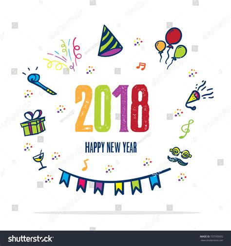happy new year icons 2018 happy new year doodle stock vector 737595955