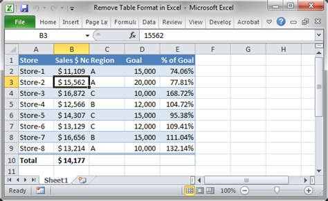format excel as table remove table format in excel teachexcel com