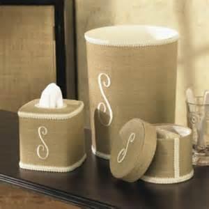 Decorative Bathroom Accessories Monogram Beige Linen Bathroom Collection