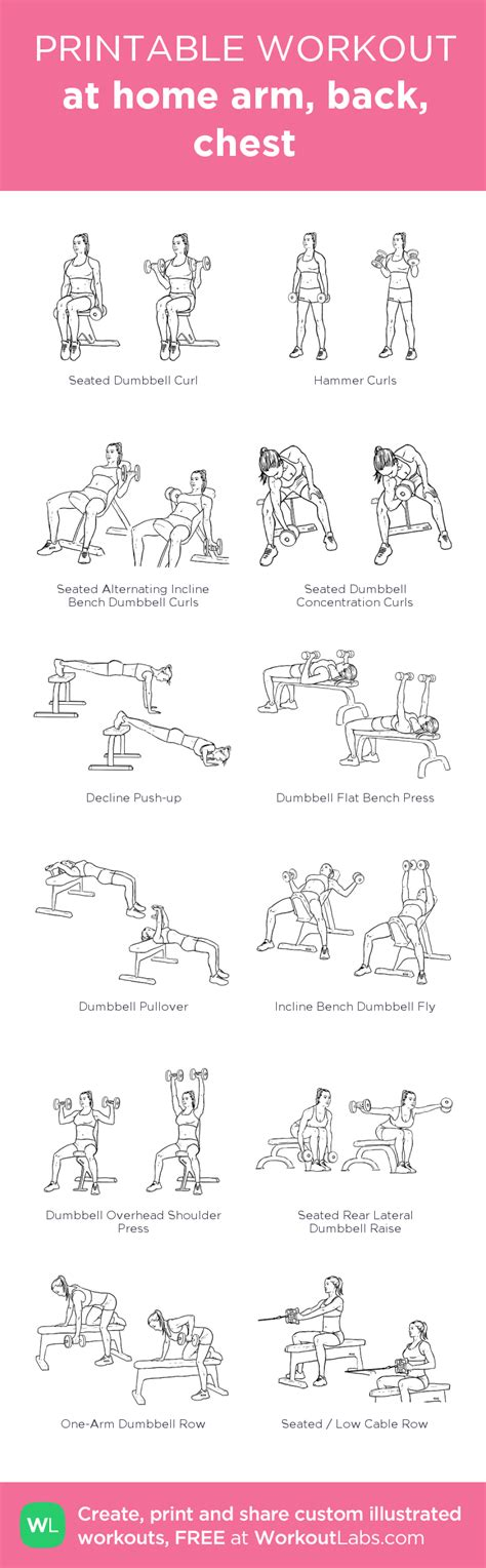 at home arm back chest my visual workout created at