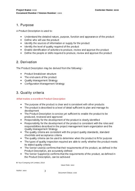 prince2 document templates prince2 product description