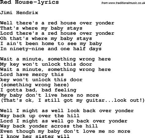 house music song lyrics blues guitar lesson for red house lyrics with chords tabs and lyrics