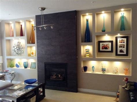 tiled feature walls living room fireplace feature wall with wall niches and tiled fireplace pinteres