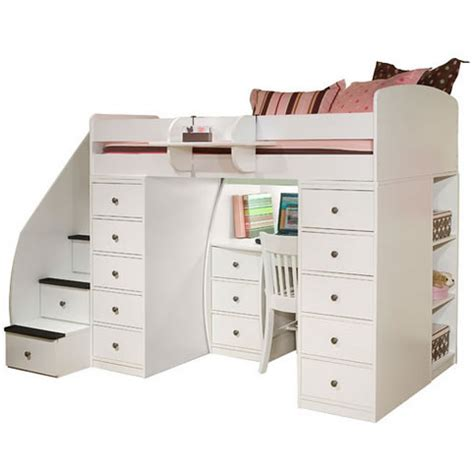 berg furniture loft bed with 2 chests