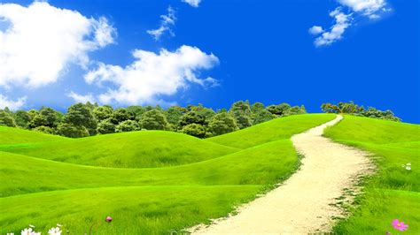 wallpaper green landscape blue sky hd nature 6267