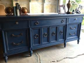 Antique White Credenza Navy Blue Painted Vintage Dresser By Twice Loved Furniture