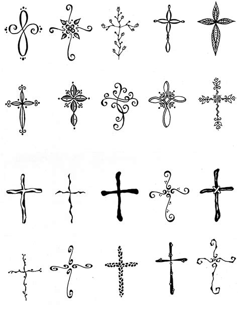 small tattoo stencils embound cross tattoos