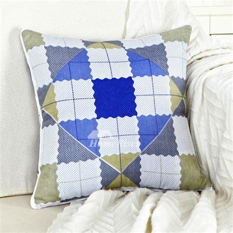 modern blue and white plaid plaid throw pillows for