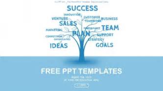 tree template for powerpoint concept blue word tree leadership marketing or business