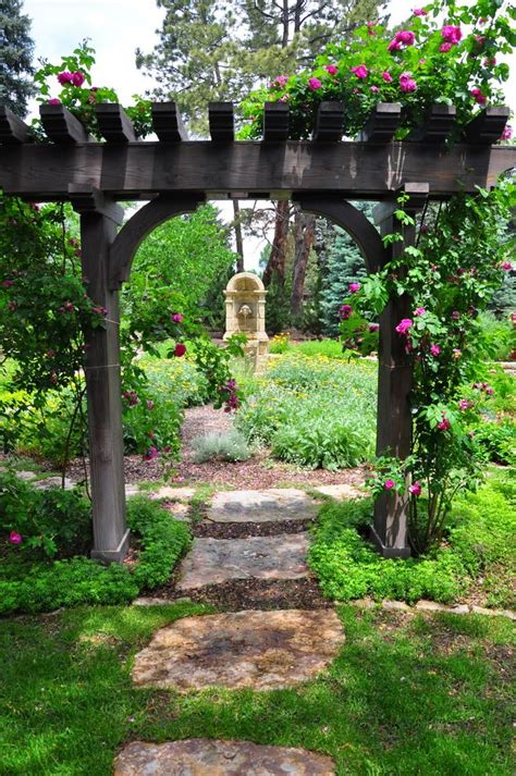 Garden Structure Ideas Garden Structures Ideas Landscape Traditional With Stepping Stones Curved Knee Braces Pink Roses