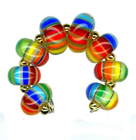 glass bead usa handmade lwork glass bead rainbow stripe by