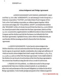 Acknowledgement Agreement Template acknowledgement and pledge agreement sample