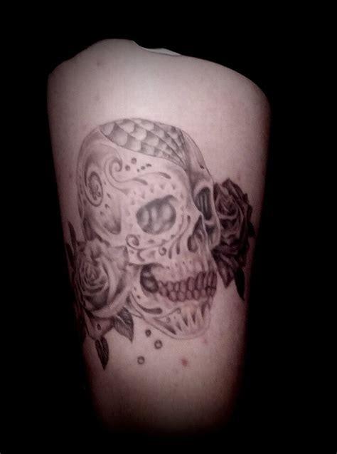 Grey Sugar grey shade sugar skull and roses by