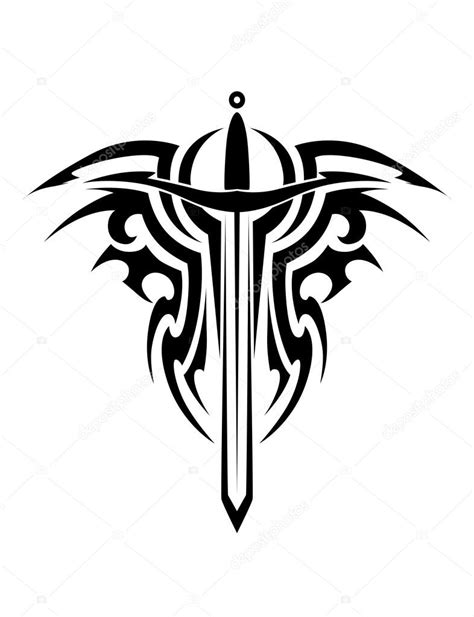 medieval tribal tattoos tribal with sword stock vector