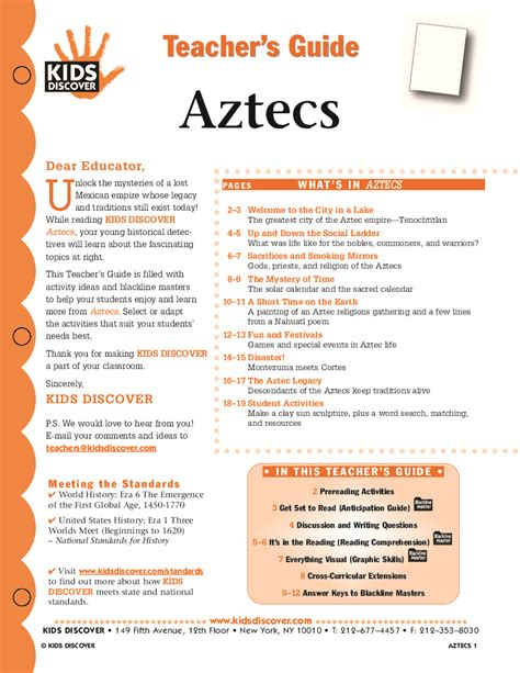Aztec Worksheets aztecs discover