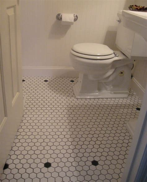 vintage style powder room white mosaic floor tiles