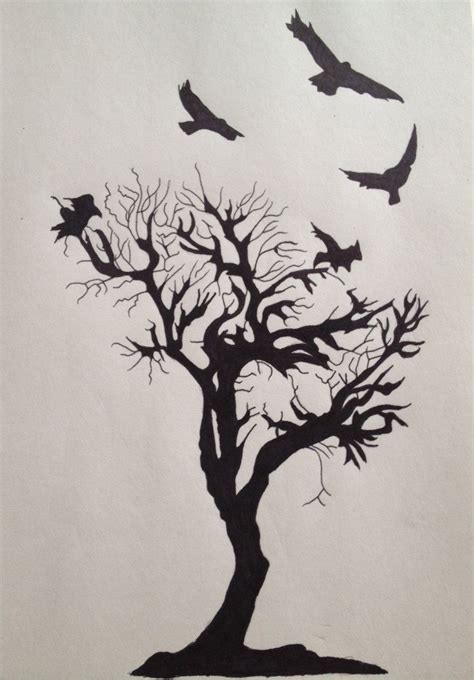 tattoos of crows and tree i d want more branches and one of