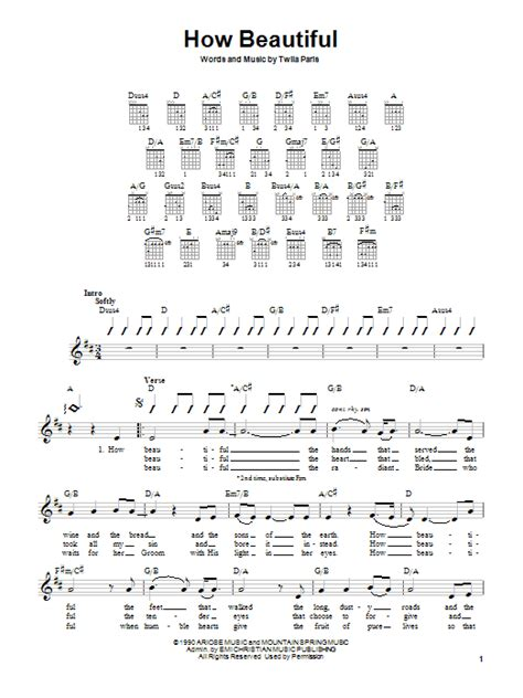 strumming pattern of you are so beautiful how beautiful sheet music by twila paris guitar with