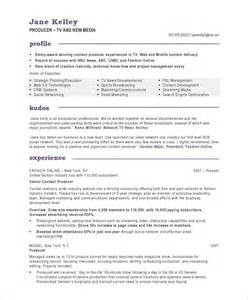 tv new media producer resume sles exles