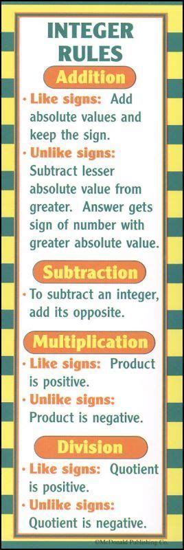 printable math bookmarks pre algebra bookmark because teaching integers is like my