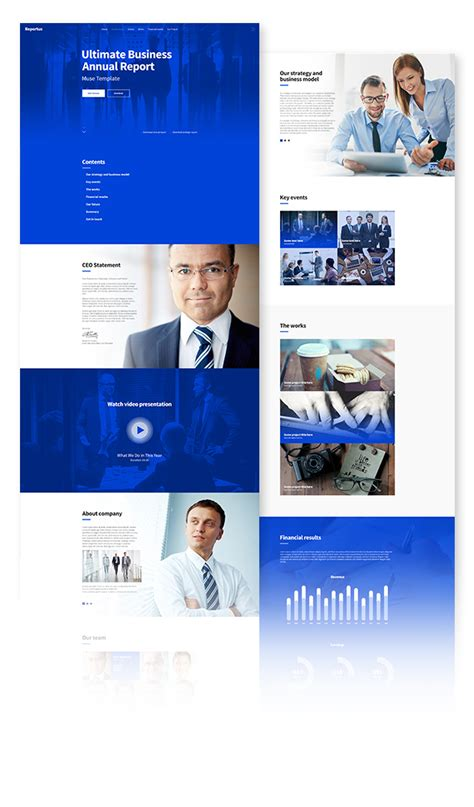 Reportus Annual Report Responsive Muse Template By Vinyljunkie Themeforest One Page Annual Report Template