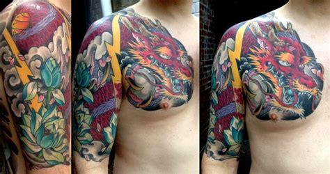 tattoo expo gettysburg sasha67 red dragon with lotus sleeve color dragon japanese