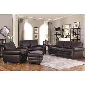 4 piece living room set broderick 4 piece top grain leather living room set
