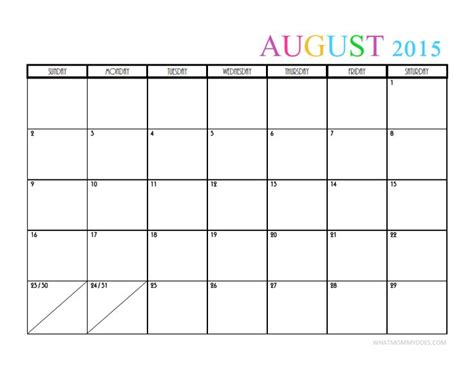 printable weekly calendar for august 2015 2015 monthly calendar templates free printable august