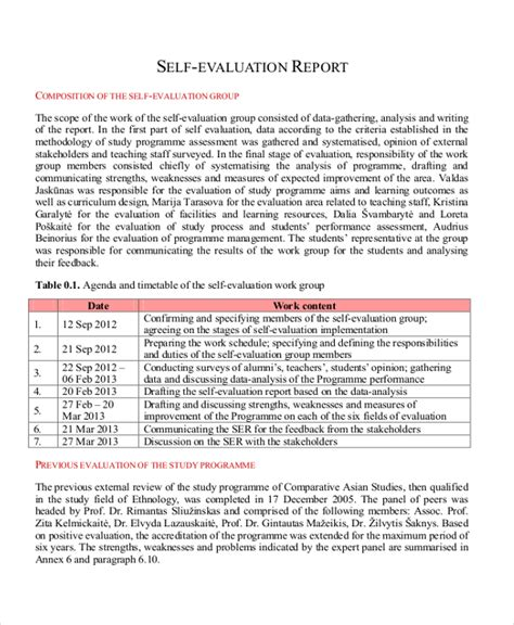 self assessment report template sle employee self evaluation form 8 free documents