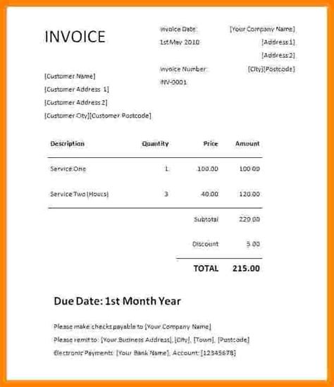 Credit Card Charges Template by 5 Invoice Template Word Free Invoice Letter