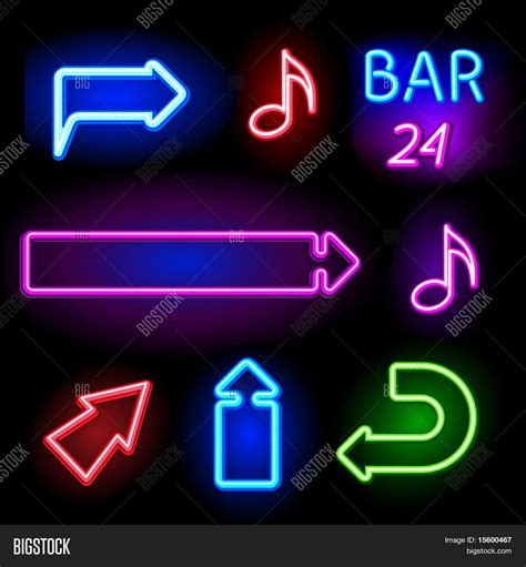 Vector Neon Signs Set Vector Photo Free Trial Bigstock Neon Sign Template