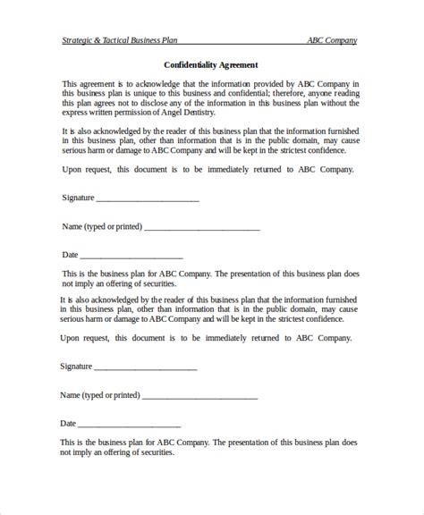 business plan non disclosure agreement template business confidentiality agreement confidentiality or non