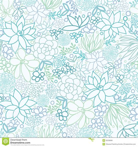 seamless doodle pattern free vector succulent plants seamless pattern background stock vector