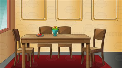 Traditional household dining room cartoon clipart vector toons