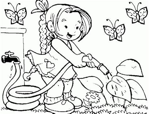 Girl Watering Flowers In The Garden Coloring Pages For In The Garden Coloring Pages