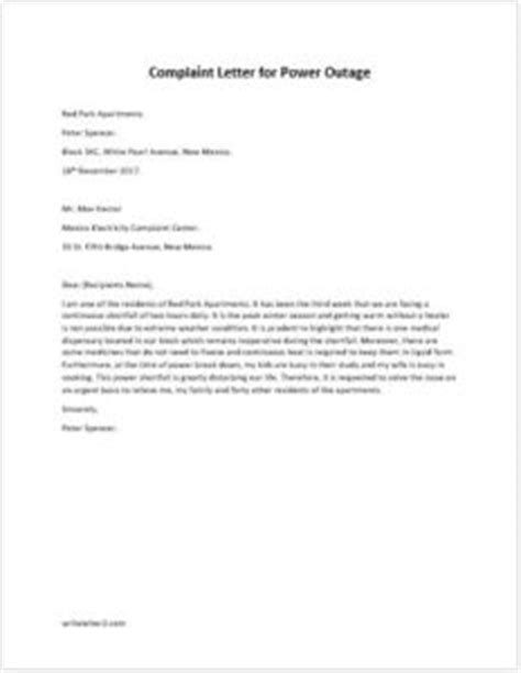 Electricity Complaint Letter In Complaint Letter For Power Outage Writeletter2