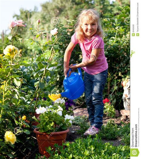 girl watering flowers girl watering flowers are watered from stock photo image
