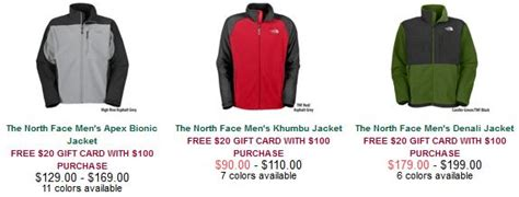 Are Gander Mountain Gift Cards Still Good - north face deals 20 gander mountain gift card with a 100 purchase